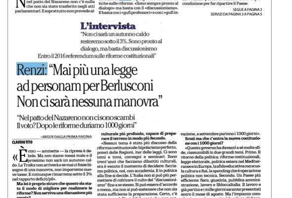 L'intervista a Renzi su Repubblica