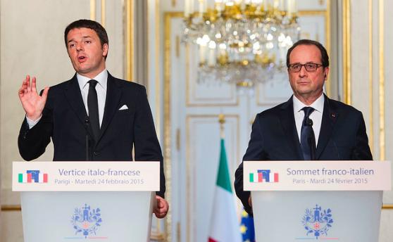24 febbraio 2015: Renzi all'Eliseo per il vertice Italia-Francia