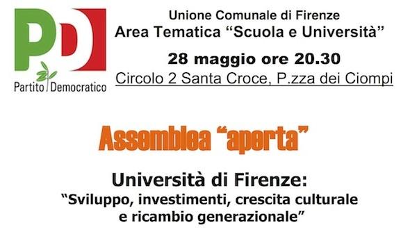 """Firenze, Circolo PD Santa Croce: assemblea su """"Scuola e Università"""""""