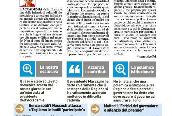 """""""Più soldi alla #Crusca, pressione sul governo. Ma anche la Regione sostenga l'Accademia"""""""