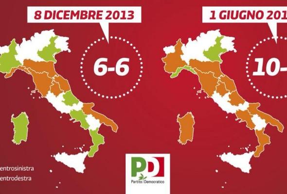 Regionali: La geografia politica italiana è sotto il segno del PD