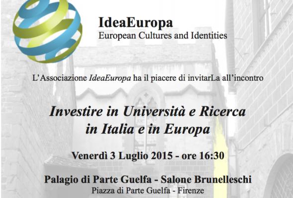 """Firenze, convegno """"Investire in Università e Ricerca in Italia e in Europa"""""""