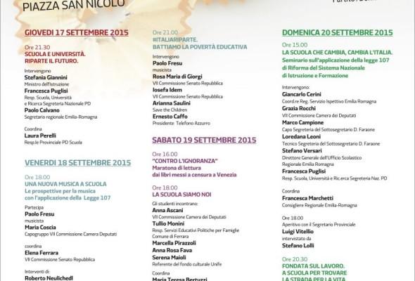 """Festa dell'Unità a Ferrara, """"La scuola in festa: cultura, musica, cucina"""""""