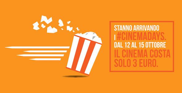 Cinema Days, al cinema a soli 3 euro dal 12 al 15 ottobre