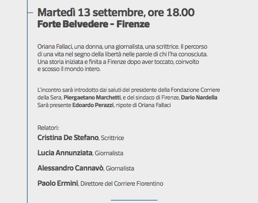 """Firenze, al Forte Belvedere """"Il filo di Oriana"""""""