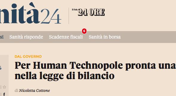 Sole 24ore: «Per Human Technopole pronta una norma nella legge di bilancio»
