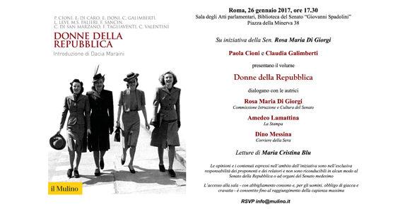 """Roma. Presentazione del libro """"Donne della Repubblica"""""""