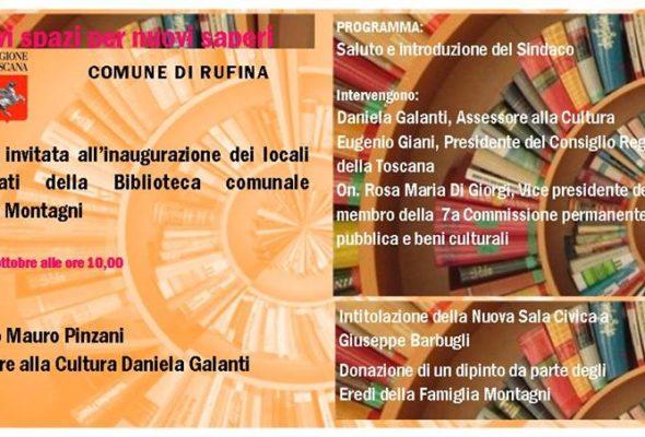 """Inaugurazione Biblioteca Comunale di Rufina """"G.C. Montagni"""""""