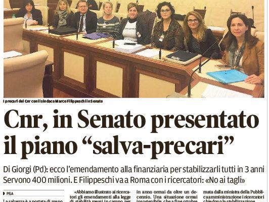 """Cnr. In Senato presentato il piano """"salva-precari"""""""