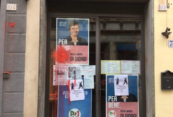 Elezioni: Imbrattata sede PD Oltrarno e comitato elettorale Di Giorgi