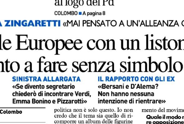 Intervista a Zingaretti: «Potrei rinunciare al logo del PD. Mai pensato ad un'alleanza con M5S»