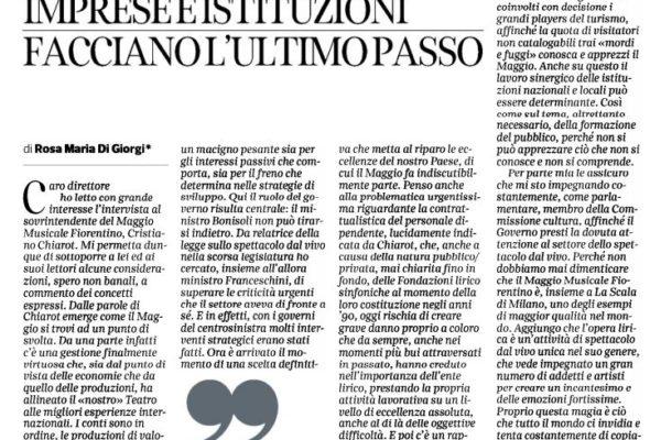 Sul Corriere Fiorentino una mia riflessione sul futuro del Maggio